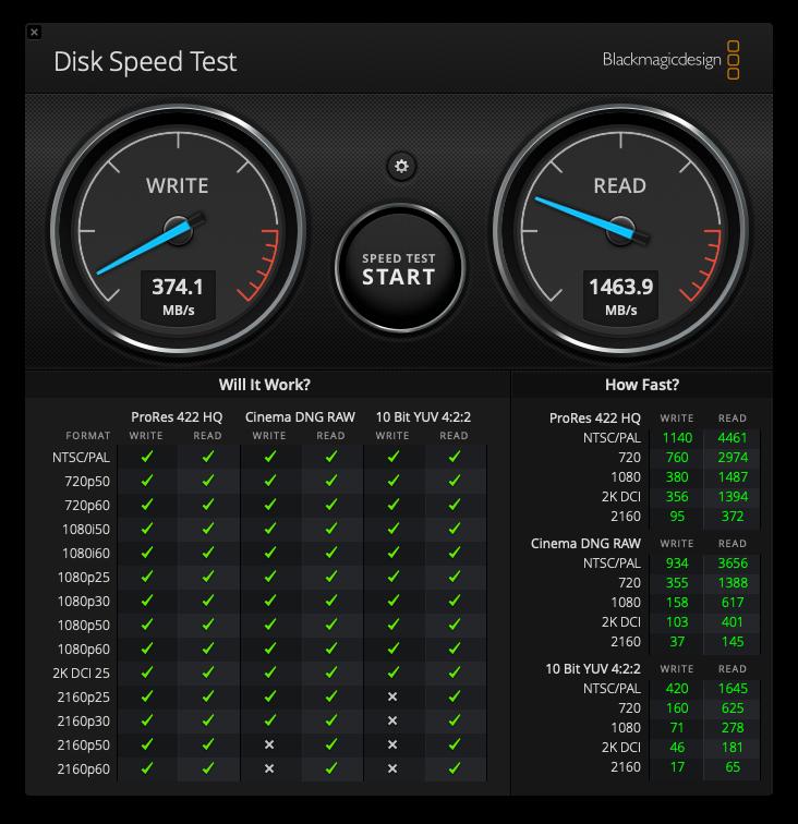 macbookpro内蔵ssdの速度