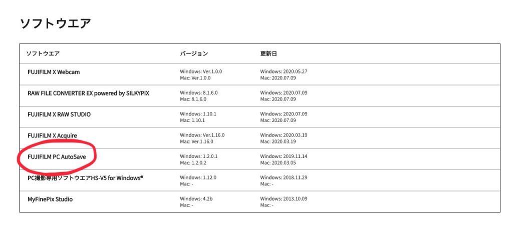 FUJIFILM PC AutoSaveソフトウェア