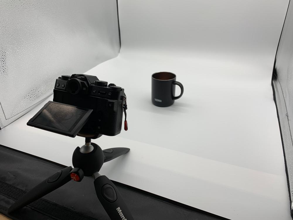 撮影ボックスとミラーレス